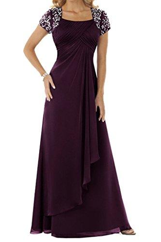 HUINI Abendkleid Chiffon Lang Brautmutterkleid Empire Ballkleid Festkleid mit Ärmel Hochzeitskleid Partykleid Traube 46