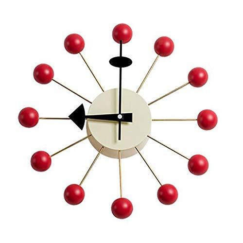 Wanduhr Hölzern Rot Süßigkeiten Bälle Uhr Design Modern Stil Zuhause Hotel Bar Büro Dekor