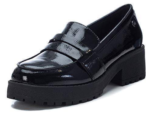 XTI - Zapato mocasín para Mujer - Tacón Cuadrado - Negro - 37 EU