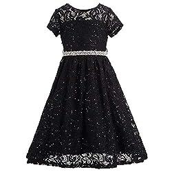 Black Lace Flower Girl Sequins Short Dress