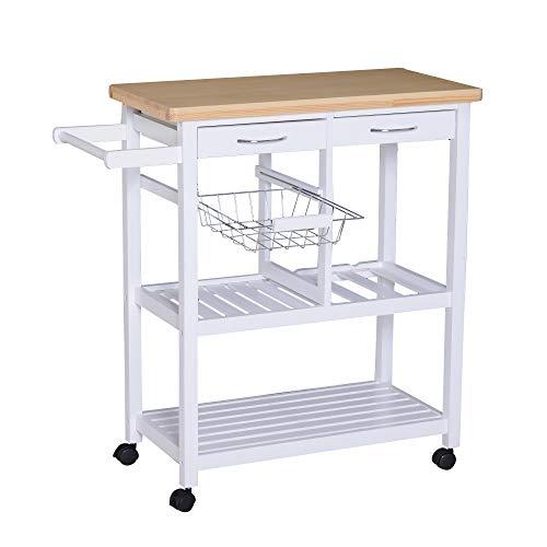 HOMCOM Küchenwagen rollbar Küchentrolley mit Korb Weinflaschenhalter Servierwagen Holz weiß 84,5 x 37,5 x 85 cm