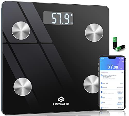 Laredas 体重計 体組成計 体脂肪計 Bluetooth スマホ連動 ボディタイプ/栄養状態/体重/BMI/体脂肪率/マッスル重量/内臓脂肪/水分/骨格筋率/骨質量/基本代謝/脂肪重量/水分重量/タンパク質重量など22種類の健康項目が測定可能 iOS/Android対応 アプリで健康管理