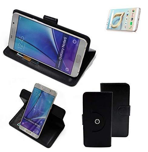 K-S-Trade® Case Schutz Hülle Für Alcatel A7 XL Handyhülle Flipcase Smartphone Cover Handy Schutz Tasche Bookstyle Walletcase Schwarz (1x)