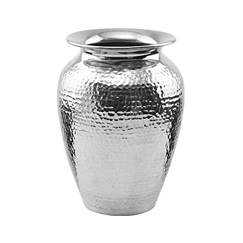 BUTLERS Oriental Lounge Orientalische Vase Höhe 21cm in Silber - Blumenvase aus Aluminium, gehämmert - Gefäß und Deko