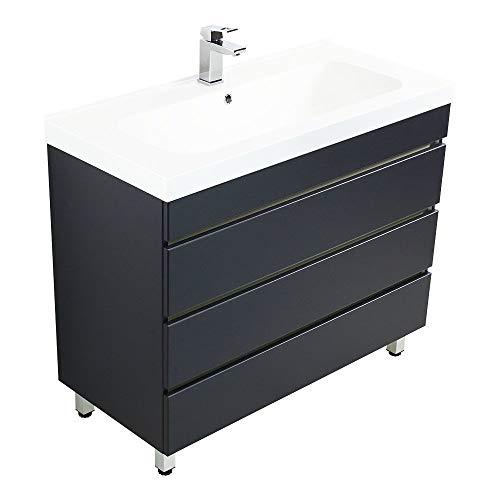 Lomadox Badezimmer Stand-Waschtisch mit Unterschrank in Seidenglanz anthrazit B/H/T 91/90/47cm