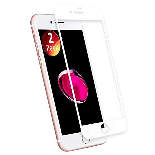 Protector de Pantalla para iPhone 7, aiMaKE 3D Pantalla Completa Cristal Templado Pantalla Protectora Anti BLU Ray,Cubre la Pantalla Completa Perfectamente para iPhone 7 4.7' Blanco