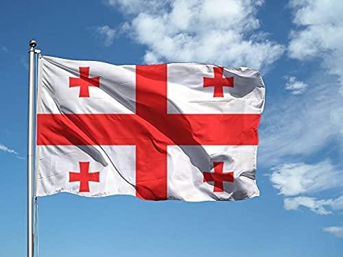 Bandera Georgia de 100 x 150 cm, de poliéster náutico de 115 g/m², con doble pliegue perimetral, cuerda y revestimiento. Apta tanto para interior como para exterior.