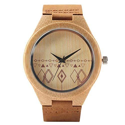 YJRIC Reloj de Madera Regalo Negro/Café/Verde Dial Reloj de Madera de bambú Natural Hombres MujeresReloj de Madera de Cuero Hora Masculina