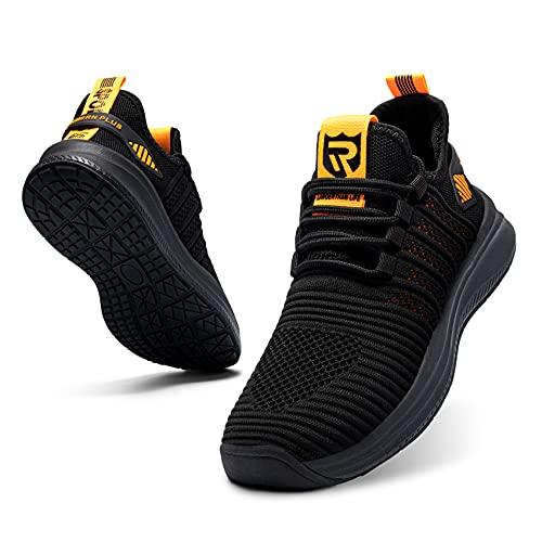 LARNMERN PLUS Zapatillas Hombre Sneakers Impermeable Antideslizante Zapatos Amarillo 46