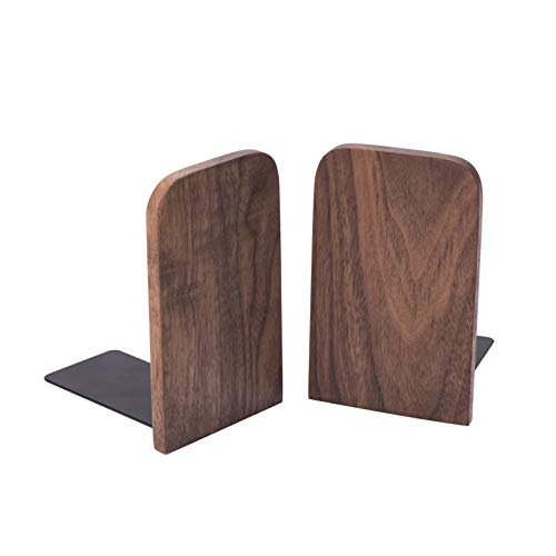 X L MAGNET Vintage Wooden Bookends with Metal Base 2 Pcs Heavy Duty Black Walnut Book Stand with AntiSkid Dots for Office Desktop or Shelves