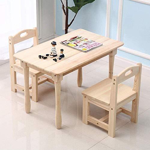 SMLZV Tabla niños y Juego de sillas, Mesa de Madera Maciza de niños con 2 sillas, Moderna Simple Rectangular de Madera Mesa de Juegos, Conjunto de 3 Piezas, Incluyendo 1 Mesa y 2 sillas