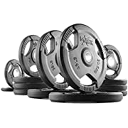 XMark TRI-Grip 140 lb Set Olympic Plates, One-Year Warranty, Olympic Weight Plates, Classic Design, Rubber Coated Olympic Weight Plate Set, Olympic Barbell Weight Set for Home
