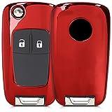 kwmobile Autoschlüssel Hülle kompatibel mit Opel Vauxhall 2-3-Tasten Klappschlüssel Autoschlüssel - TPU Schutzhülle Schlüsselhülle Cover in Hochglanz Rot
