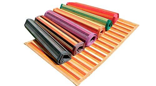 Ca Gi Sa Sorrento Tappeto Bamboo Legno Degradè Multicolor da Cucina o Bagno con Antiscivolo Passatoia (50x280cm, Beige)