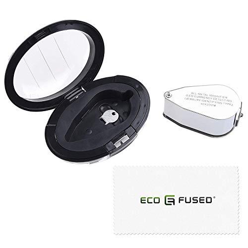 Eco-Fused 40X verlichte juwelier UV LED-lensloep Vergrootglas - metalen constructie - 25 mm optisch glas - voor juweliers, munten-, postzegel-, antiek- en mineraal en edelsteen verzamelaars - goed voor tuinieren, hobby's en wetenschap