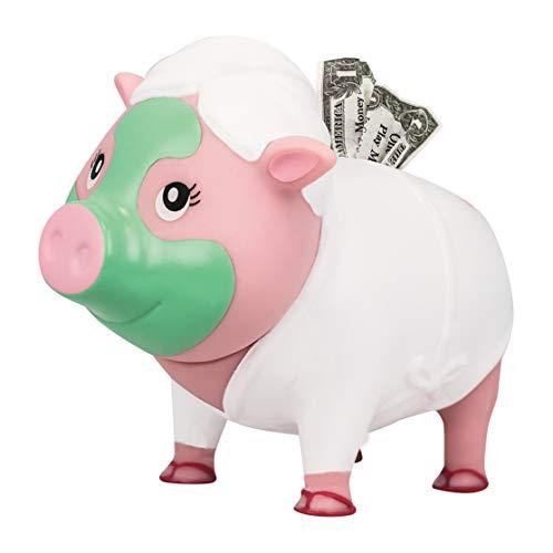 Hucha Lilalu Bigys Wellness, cabeza de cerdito giratoria, hucha, hucha, hucha, hucha con ranura para monedas, Piggy Bank caja fuerte para niños