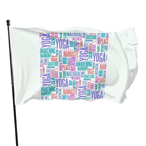 N/D Pastel Yoga Palabras Nube Patrón elegante bandera banderines, 0,9 x 1,5 m