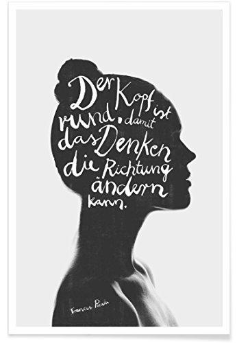 """JUNIQE® Motivation Zitate & Slogans Poster 20x30cm - Design """"Denken"""" entworfen von typealive"""