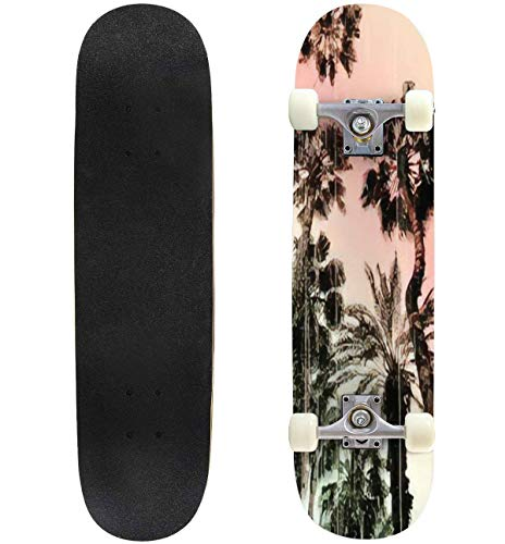 Classic Concave Skateboard Palm Tree Print in Vector Longboard Maple Deck Extreme Sports and Outdoors Double Kick Trick for Beginners and Professionals