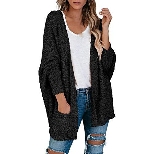 Lazzboy Store Strickjacke Damen Lang Frauen Popcorn Langarm Open Front Pockets Übergroße Einfarbig Mehrere Farben Verfügbar Cardigan Sweater Mäntel (Schwarz,S)