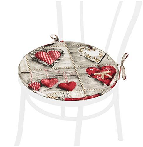 Cuscino Sedia Rotondo Morbido Coprisedia Laccetti Universale Lavabile Interno Esterno Mod.DALIA172