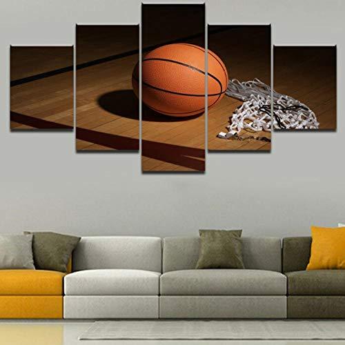 Preisvergleich Produktbild Wslin Moderne Wandkunst Dekorative 5 Panels Sport Basketball Modulare Bild Hohe Qualität Leinwand Gedruckt Malerei Für Schlafzimmer Drucke Auf Leinwand 150X80Cm
