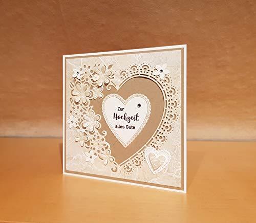 Hochzeitskarte, Hochzeits-Karte, Glückwunschkarte, Grußkarte, Karte zur Hochzeit, Handarbeit
