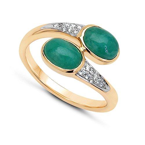 Jaipuri.Instyle by Tricolour - Damen Ring - 14 Karat (585) Gelbgold - echter Edelstein: Smaragd ca. 2.21ct. - R18076EWD_14KYG / Gr. 57 (18.1)