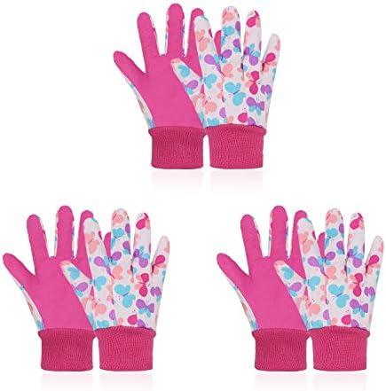 3 Pairs Kids Gardening Gloves for Age 5 8 Cotton Garden Working Gloves for Boys Girls Soft Children product image