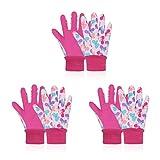 3 pares de guantes de jardinería para niños de 5 a 8 años, guantes de trabajo de jardín para niños y niñas, guantes de jardín suaves para niños (S (5 a 6 años), rosa)