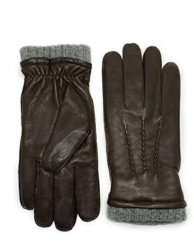 YISEVEN Winter Men's Three Point Warm Sheepskin Leather Gloves Cashmere Lined Non-touchscreen Classical Urban Style Genuine Lambskin For Dress Driving Motorcycle Work Gifts, Mocha 8.5
