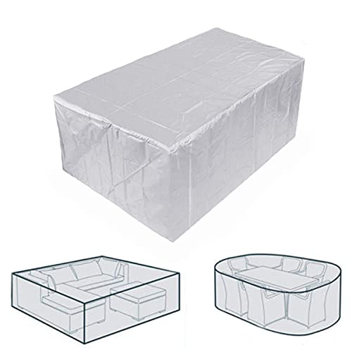 XJZKA Garden Table Covers 230x165x80cm Waterproof Snow Dust Windproof, Anti-UV Patio Set Cover Rectangular for Sofas, Chairs, Patio, Outdoor, Gray
