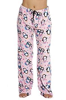 6339-10126-L Just Love Women s Plush Pajama Pants - Petite to Plus Size Pajamas,Pink - Penguin Love,Large