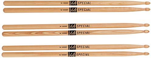 Pro Mark Bacchette per Batteria LA Specials 5A in noce americano, punta ovale legno, tre paia