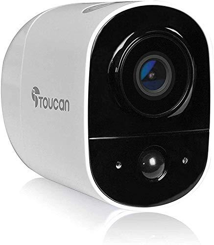 TOUCAN - Drahtlose Sicherheitskamera für den Außenbereich, wetterfest 1080P FHD Video, Bewegungserkennung, Nachtsicht, 2-Wege-Audio, Alarm, 2,4 GHz WLAN, kompatibel mit Alexa