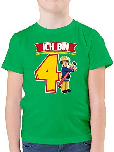 Feuerwehrmann Sam Jungen - Ich Bin 4 - Sam - 116 (5/6 Jahre) - Grün - Feuerwehr - F130K - Kinder Tshirts und T-Shirt für Jungen