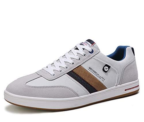 ARRIGO BELLO Zapatos Hombre Vestir Casual Zapatillas Deportivas Running Sneakers Corriendo Transpirable Tamaño 40-46 (44 EU, L Gris Blanco)