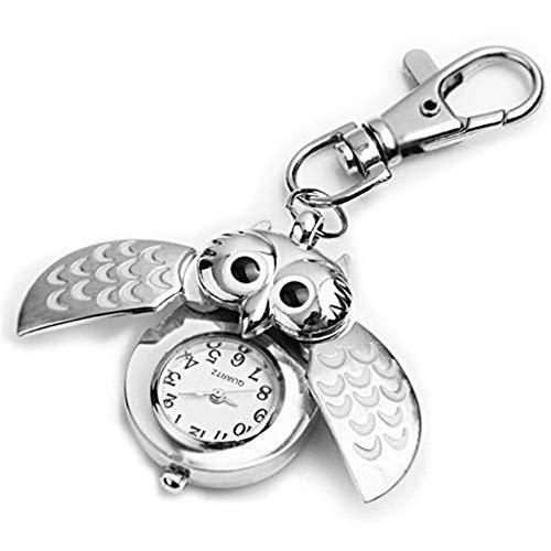 Ogquaton Portachiavi ciondolo stile gufo portachiavi orologio da tasca al quarzo portachiavi creativo e utile