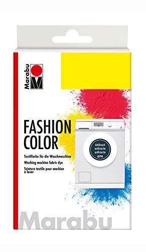 Marabu 17400023074 - Fashion Color anthrazit, Textilfarbe zum Färben in der Waschmaschine, kochecht, für Baumwolle, Leinen und Mischgewebe, 30 g Farbstoff und 60 g Reaktionsmittel