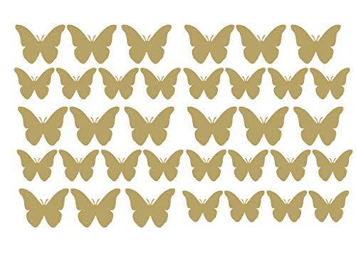 Vinyle Qualité Papillon Autocollants Auto Moto Sccoter Casque Autocollant Graphique Papillons - Doré Mat