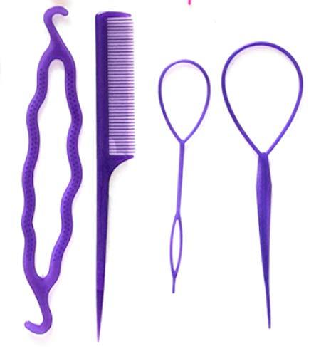 4 pcs Accesorios de Peinado para Mujer Kit para Trenzas Trenzado Moño Coleta Recogido para Novia Fiesta