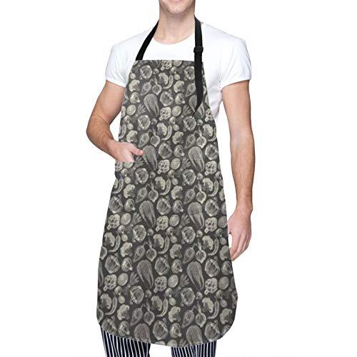 COFEIYISI Delantal de Cocina Bosquejo monocromo de arte vegetal de cebolla, brócoli, pimientos, alcachofa, ajo, fresco Delantal Chefs Cocina para Cocinar/Hornear