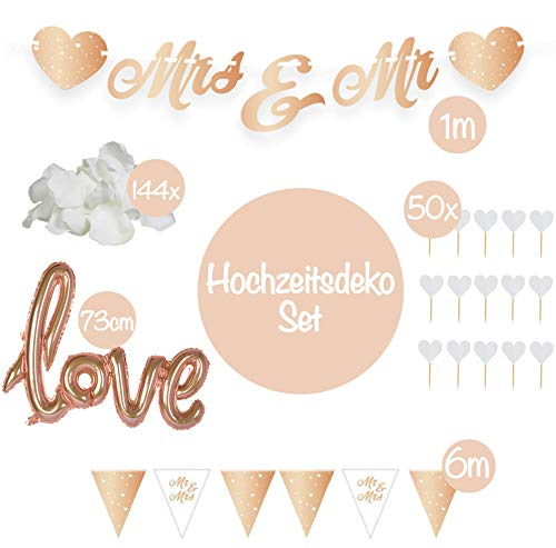 L+H XXL bruiloft decoratieset | 197 delen | Mr & Mrs slingers, helium ballon Love Rose goud, hart party primer, rozenbloesem wit | Just Married Pre Wedding tuin decoratie gouden bruidsdouche folieballon