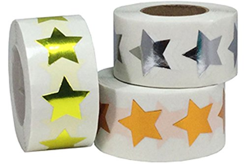 Metallic Bulk Pack Star Shape Stickers Shiny Metallic Foil Teacher Supplies 3/4 Inch 1,500 Adhesive Labels
