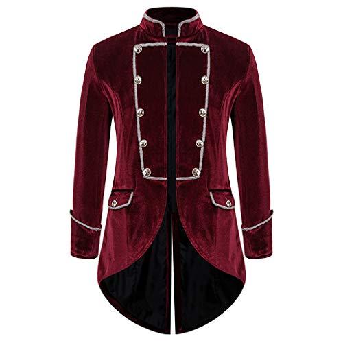 AmyGline Herren Mantel Frack Jacke Steampunk Gothic Gehrock Uniform Smoking Kostüm Party Oberbekleidung Abendkleid Anzug Sakkos Retro Mäntel Männer