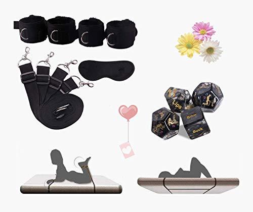 Cinturón de nailon para entrenamiento de yoga con correa para el tobillo y muñeca de felpa gruesa para parejas que juegan en la cama con una venda misteriosa y 4 dados interesantes