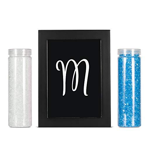 AF ANDREW FAMILY Bilderrahmen, mit Monogrammen, für Hochzeit, Sandzeremonie, Schattenbox-Set, 20,3 cm, Holz-Sandrahmen, Weiß und Blauer Glassand inklusive Buchstabe M