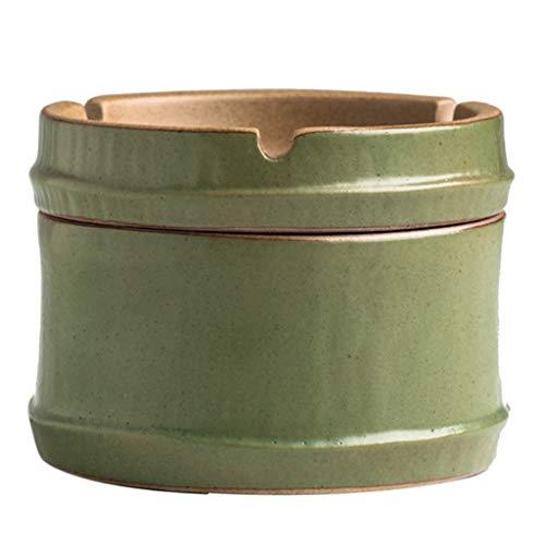 FABAX Ashtray Creative Bamboo Ceramic Ashtray Simple Portable Ashtrys Household Office Supplies Cigar Ash Tray Smoker Gift Indoor Outdoor (Color : Green)