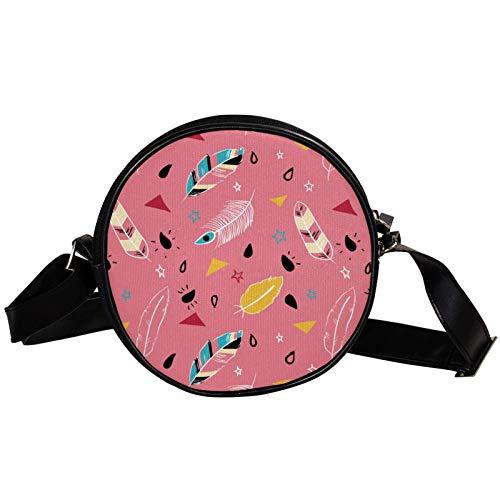 Bandolera redonda pequeña bolso de mano para mujer, bolso de hombro de moda, bolso de mensajero de lona, bolsa de cintura, accesorios para mujer, color rosa, boho, plumas, hippie