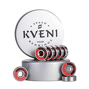 KVENI Premium Skateboard Bearings, Ceramic Ball 608-2rs Bearing – Precision Fask Spin ABEC 11 Bearings for Longboard, Quad Skate, Inline Roller Blades, Scooters, Spinners, fingertip, 8 Pack